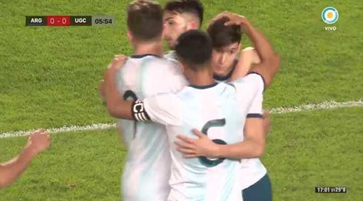 Gol de Balerdi para el 1 a 0 de Argentina