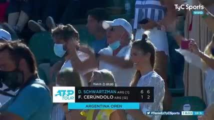 El punto de la victoria y el festejo del Peque Schwartzman en la final dell Argentina Open